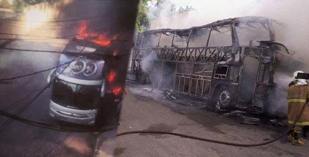 Ônibus da banda Forró 100% pega fogo
