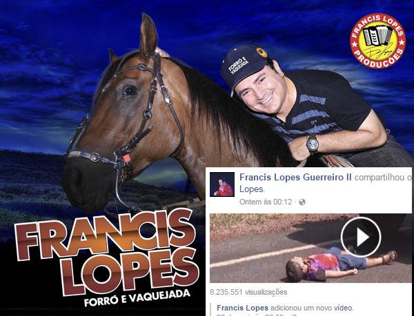 Francis Lopes atinge 8 Milhões no relançamento de vídeo clipe