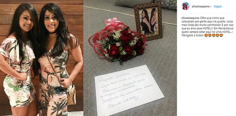 Silvânia Aquino ganha mimos de hotel com buquê, porta retrato e bilhete de boas vindas