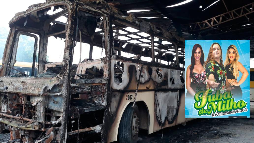 Bandidos queimam ônibus da banda Fubá de Milho em Fortaleza-CE