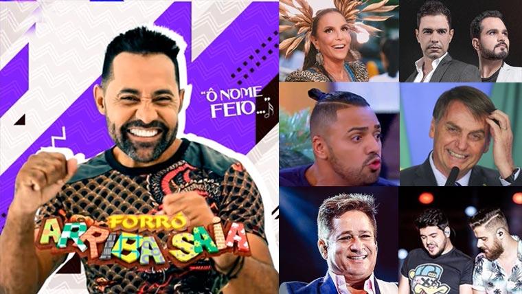 """Whindersson, Tirulipa, Luciano, Leonardo, Zezé, Ivete, 'Ô nome feio"""" Arriba Saia lista nome de famoso em nova música"""