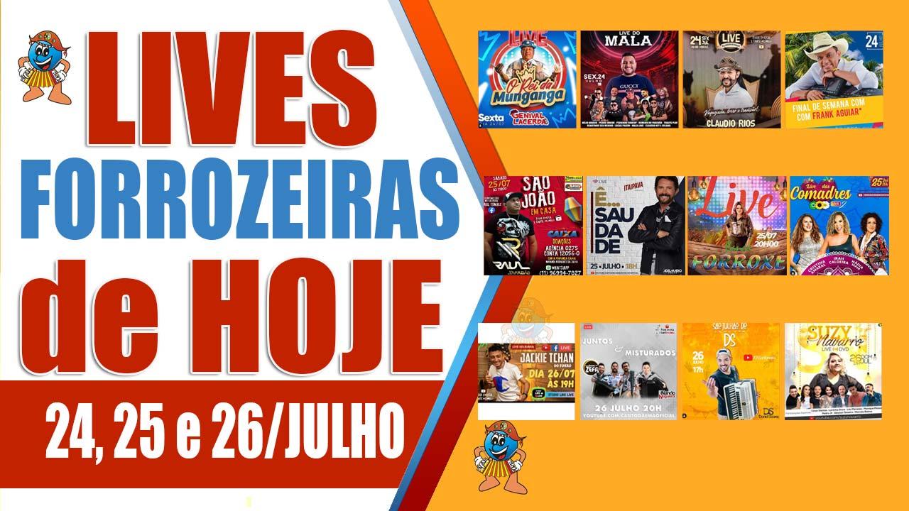 Programação de Lives Forrozeiras do Final de Semana (24/07, 25/07 e 26/07)